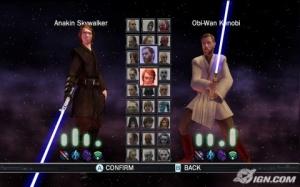 Selección de personajes del modo Duels
