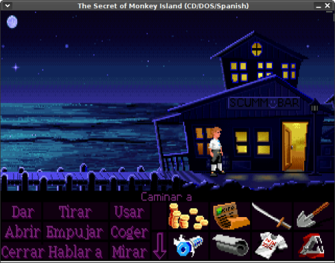 Guybrush Threepwood frente al Scumm bar